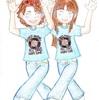 双子コーデのPUFFYのダンス。
