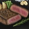 チョークアート 最後のお肉はミディアム・レア