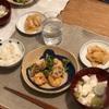 ごはん、海老マヨ野菜炒め、大根の中華風サラダ漬け、豆腐とネギのスープ