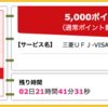 【ハピタス】三菱東京UFJ-VISAデビットが期間限定5,000pt(5,000円)にアップ! さらに最大1,500円もれなくプレゼントも♪