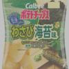【食塩0.4g】カルビーのポテトチップス、わさび海苔味