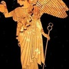 """虹の女神イーリス(イリス) ギリシャ語Îrisは虹.虹のように美しい花から,アイリスがこの植物の名前となりました. Îrisは,ギリシャ神話の虹の女神の名前でもあります.女神イーリス(イリス)は「脚迅(はや)い」「足早の」という形容をつけて呼ばれヘーラーやゼウスの伝令役として様々な場面で登場.""""アイギス持つゼウスの使いとして,脚速きこと風の如き虹の女神(イリス)は,危急を告げる報せを携えて,トロイエ勢の陣営に駆けつけた""""(ホーマー 「イーリアス」)"""