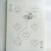 水彩画3枚目「♣7みつばちとシロツメクサ」