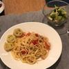 シーフードスパゲティとアンパンマンポテト、ブロッコリーとアボカドのサラダ