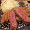 ミディアムレアが極薄い衣に包まれた「牛かつ膳」 京都勝牛 天神西通り店
