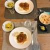 ナポリタン、ちくわのポテトサラダ、ズッキーニととうもろこしのスープ
