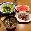 実家飯!ナスの揚げ煮、あじなめろう、冷や汁〜適当飯!豚肉とししとうの味噌炒め〜