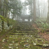 小雨と霧に包まれた壮厳的な羽黒山「荒澤寺」と「正善院」