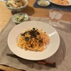 たらこスパゲッティ、蒸し鶏とキュウリの和えもの、厚揚げと野菜の焼き蒸し