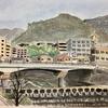 ど素人の水彩画 住吉川の新落合橋風景