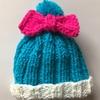 コキンちゃん風★簡単二目ゴム編みだけ 手編み帽子★作り方