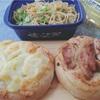 ポテトチーズと照り焼きチキンパン+和風パスタ。