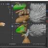 Blender2.8でモンスター型のキャラクターモデルを作成する その3(毛並みオブジェクトを結合する)