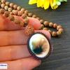 レア・希少!繁栄と健康のお守り!迷いをなくし、自分自身の道を力強く歩みたい方へ!高品質シヴァアイのルドラクシャマーラーペンダント(菩提樹の実)第4・6・7チャクラ対応