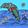 商用フリーイラスト「EEZに着水する弾道ミサイル」のイラスト