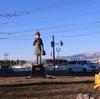 函館市 赤い靴の少女像「きみちゃんの像」にて