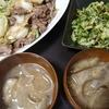 牛肉白菜炒め、きゅうり塩昆布あえ、味噌汁