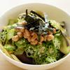 納豆パスタ(初秋茄子とオクラ)