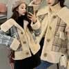 韓国ファッション レディース ボアブルゾン ラムウール チェック柄 切り替え ボアジャケット
