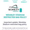 ウェンブリー・スタジアムに行くときはバッグの大きさに気をつけよう