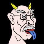 青い舌を出す、年老いた鬼 のイラスト