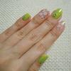 春色♬黄緑&クリア小花柄の爽やかネイル