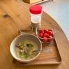 野菜のクリームスープ。コーヒードリッパー。写真をラミネート。