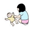赤ちゃんに触らせてもらった娘