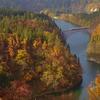 晩秋の只見線(1):絶景,第一只見川橋梁の紅葉。