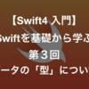 【Swift4 入門】 Swiftを基礎から学ぶ人用 第3回 ーデータの型についてー