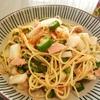 簡単一人ご飯〜ツナとオクラと長芋の七味ナンプラーパスタ