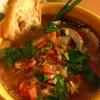 ✴︎クラムと帆立のスープ、パプリカの香味野菜とツナ詰め焼き、に削りココナツとレモンの薬味(覚書き)