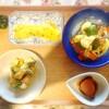 鰹、かき揚げ、豚肉野菜炒め、玉子焼き