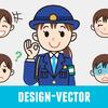 警察官(女性・冬服)・婦警のOKポーズと表情5パターンのイラスト素材・商用無料(PNG)