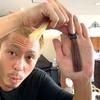 【カラーバターのココナッツブラウン】ブリーチありの金髪に染めた仕上がり