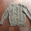 手紡ぎ手編みのカーディガン ※オリジナルパターンではないため、制作過程のみのご紹介