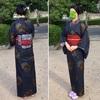 大島紬に洗える半幅帯の着物コーデ