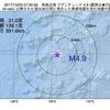 2017年10月03日 07時30分 鳥島近海でM4.9の地震