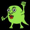 意気込む緑色のモンスター のイラスト