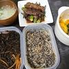 オクラ牛肉巻き、ひじき、卯の花、味噌汁