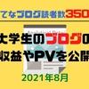 【はてなブログ読者350人】2021年8月分の大学生のブログの収益やPVを公開!