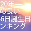 【2020年版📆】運の良い誕生日ランキング占い🔮1位~366位まで!最強運勢を無料で調べる🏆またベスト3とワースト3の芸能人・有名人をまとめてみました。ツイッターで話題!超運!2019年もまとめ!366日誕生日占い