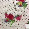 きもの(袷) 白×ピンク・ドット×バラ柄・銘仙