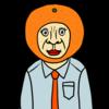 オレンジのかぶりものをしたサラリーマン のイラスト