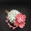 つまみ細工  秋のお茶会で使う桜の髪留めと帯飾り