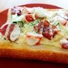 【朝ごはん】野菜たっぷり!ベーコンチーズ食パン【レシピ】