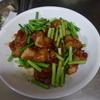 幸運な病のレシピ( 1816 )朝:唐揚げのピリ辛(ニンニクの芽)、鮭、塩サバ、なめこ煮、味噌汁、マユのご飯