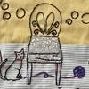 「いすと猫のフレーム⑥」リバティプリントでハンドメイド71号