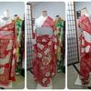 シンエイさんから届いた赤の絞り刺繍着物をボディさんに着せてみた~帯はどうするか?