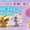 ポケモン親子タオルプレゼント総計1,000名に当たる!